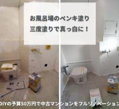 【ミニマリノベ進捗報告】お風呂場の壁に白ペンキ三度塗りで眩しいバスルームに!