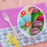 『バタフライピー茶(アンチャン)で染めた青いウズラの卵のお花弁当』の画像