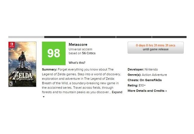 【ゼルダの伝説 ブレスオブザワイルド】メタスコア100点スタート、満点評価多数