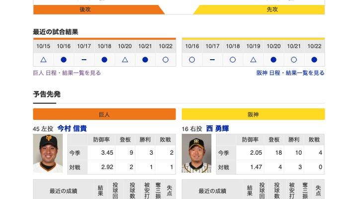 【巨人実況!】vs 阪神(21回戦)![10/23] 先発は今村!捕手は大城!