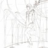 『上空の宮殿内の女子_(線画)』の画像