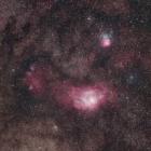 『いて座の干潟星雲(M8)&三裂星雲(M20)付近』の画像