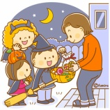 『【クリップアート】ハロウィン・お菓子をもらいに行くこどもたちのイラスト』の画像
