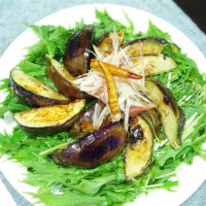 ナスと水菜のガーリックサラダ