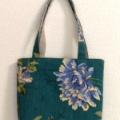 グリーンの花柄トートバッグ