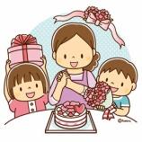 『【クリップアート】ケーキとプレゼントで母の日を祝う親子』の画像