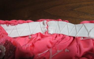 『ベリーダンス衣装 どうしても見えてきちゃうウエストのゴムは布を貼って目隠し!』の画像