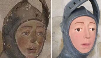 またスペインw 今度はレリーフの聖ジョージ像を素人が修復