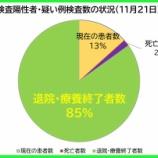 『【新型コロナ】11月21日(土)、埼玉県の現在の陽性者数は、昨日より「112人増」の計1002人に。61人の方が退院・療養終了されました(新たな陽性者は173人)。』の画像