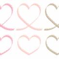 細いレースリボンのミニハートフレーム 薄ピンク~ベーシュ