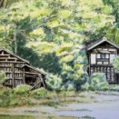 水彩画 「隣町の農家」