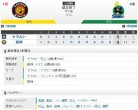 セ・リーグ T4-5S[9/10] 阪神、4回に福留の犠飛で追いつくも…延長10回に勝ち越し許す。