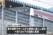 【社会】電車内で下半身を露出し通報された男が線路を逃走、12メートル下の道路に転落し両足骨折などの重傷。JR新木場駅
