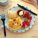 『セリアの猫型シリコンモールドで作るパンケーキ2つ』の画像