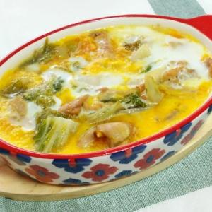鶏小肉と白菜の玉子とじ