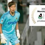 『松本山雅FC J2 7月度月間MVPにGK守田達弥が初受賞!! 5試合で失点はわずか1「サポーターの皆さんと一緒に獲れたもの」』の画像