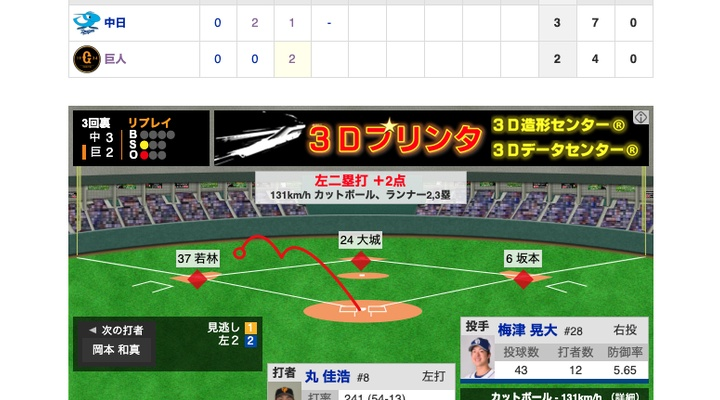 【動画】<巨人vs中日 3回戦> 巨人・丸が2点タイムリー!【巨2-3中】