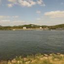 台風後の吉井川潮止め。