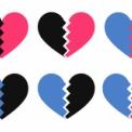 二色のひび割れたハート素材(黒・ピンク・ブルー)