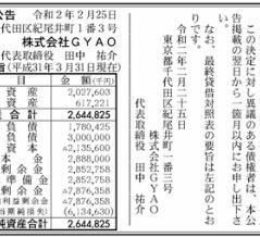 GYAO 決算公告(第11期)