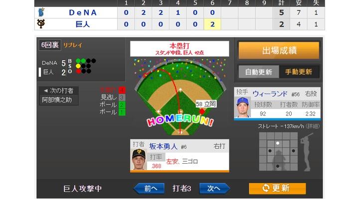 【 動画あり 】vs DeNA!6回裏、坂本が第3号2ランホームラン!2-5!