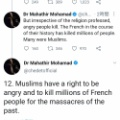 マハティール「イスラム教徒にはフランス人を殺す権利がある」
