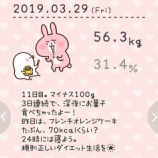 『56.3kg。合計2.1kg減量。1196kcal。11日目』の画像