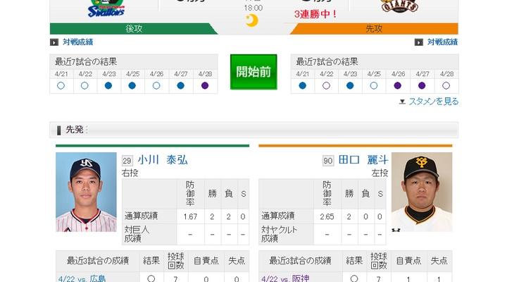 【 巨人vsヤクルト 】スタメン発表!先発は田口!4番・阿部、6番・長野、7番・石川!18:00~