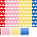 赤・ピンク・黄・青ハートのシームレスパターン