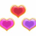 フリー素材 立体感のある金枠とハート 赤・ピンク・紫