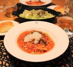 『蟹トマトクリームスパゲッティ』の夜ごはん。