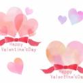 ハートとリボンのバレンタインイラスト素材 水彩風