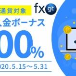 『FXGTが、「初回入金100%ボーナスキャンペーン」を実施!』の画像