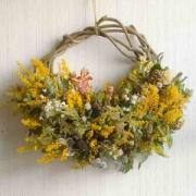 大きめ春の花ナチュラルドライフラワーリース