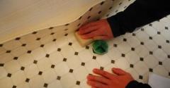 *洗面所のクッションフロア張り替え②クッションフロアをカット!角の取り方をわかりやすい(多分)説明アリ*