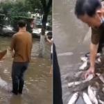 【動画】中国、洪水で冠水した街中で網を使って漁をするおっさん!「大漁だあ~!」
