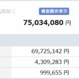 『【運用状況】2019年11月末の資産総額は7500万円でした!』の画像