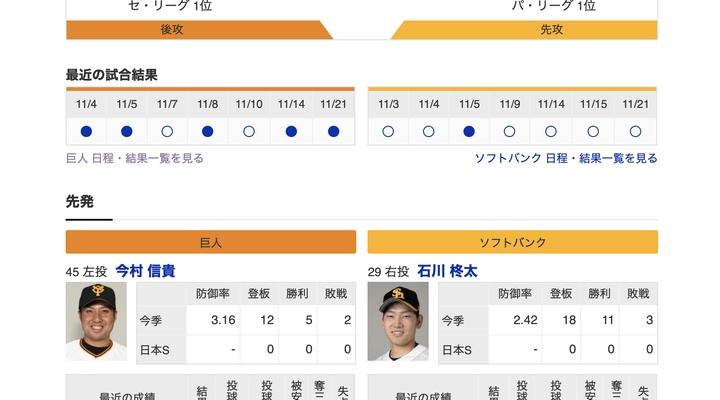 【巨人実況!】日本シリーズ第2戦 vs ソフトバンク![11/22]  先発は今村!捕手は大城!