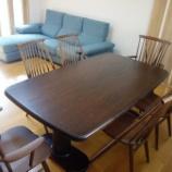 『観音寺市に拭き直しメンテナンスしたテーブルと柏木工シビルチェアとマルイチセーリングのソファ・バーンを納品』の画像