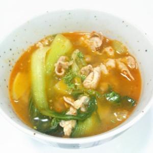 豚肉とチンゲン菜の中華スープ