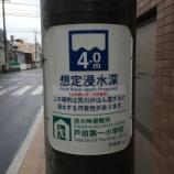 『戸田市内の主要電柱に赤い線 これは浸水被害予想ラインです』の画像