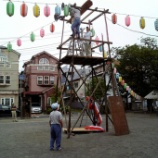 『戸田市鍛冶谷町会盆踊りに向け櫓設営』の画像