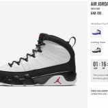 『US online list 12/3 9AM CET AIR JORDAN 9 WHITE/BLACK-TRUE RED 302370-112』の画像