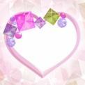 キラキラ石のハートフレーム素材 ピンク