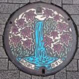 『大阪府箕面市のマンホール。箕面の滝ともみじがデザインされています。』の画像