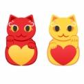 赤と黄色の招き猫イラスト素材