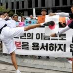 【動画】韓国、また日本大使館前で!今度は少年が日の丸に蹴り!旭日旗にパンチ! [海外]