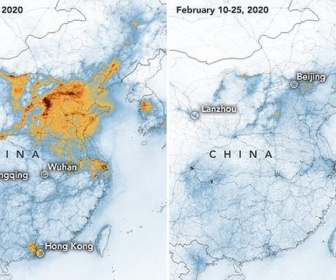 【NASA】中国の人たちがコロナウイルス発生で家に引きこもり工場が停止してる間に中国の大気汚染がどう解消されたかという画像を発表