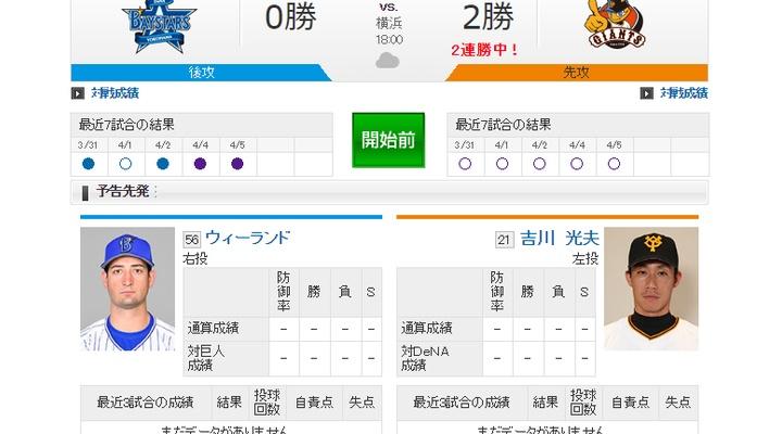 【 巨人 vs DeNA 】スタメン発表!先発は吉川光夫!3番坂本、4番阿部、5番マギー!
