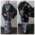 単衣紬に華やか絵羽織を主役にしたコーデ